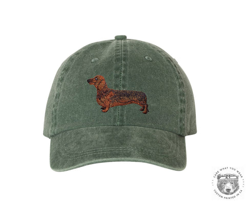 DACHSHUND Embroidered Wiener Dog Patch Mega Cap - Pigment Dyed Cotton Twill Cap + Colors 7601 - Zen Threads