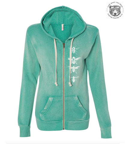 Womens BEES Screen Print Fleece Full Zip Hoody Angel Fleece Hooded Full-Zip Sweatshirt - W2350