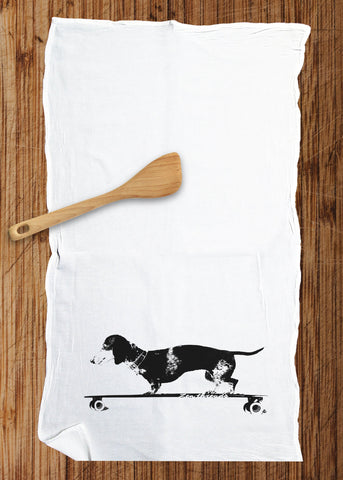 Dachshund Longboard Dog Large Flour Sack Kitchen Bar Towel Multi-Purpose Renewable Natural Cotton - Zen Threads