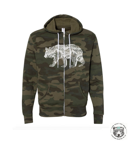 Unisex California BEAR Fleece Zip Hoody - Hand Screen Printed