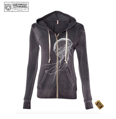 Womens JELLYFISH Screen Printed Fleece Full Zip Hoody Angel Fleece Hooded Full-Zip Sweatshirt - W2350