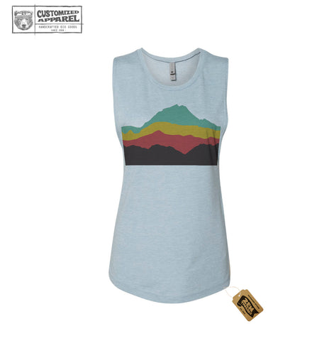 Womens MOUNTAINS Flowy Festival Muscle Tank workout fitness tee - Next Level 5013