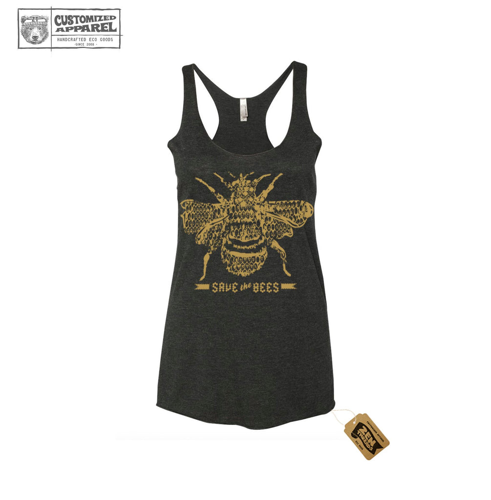 0478d7ab34 Women's SAVE the BEES hand screen printed Tri-Blend Racerback Tank Top  workout shirt