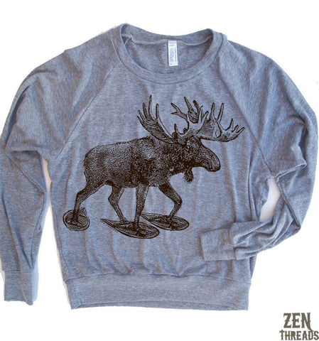 Women's MOOSE Tri-Blend Pullover American Apparel screen printed