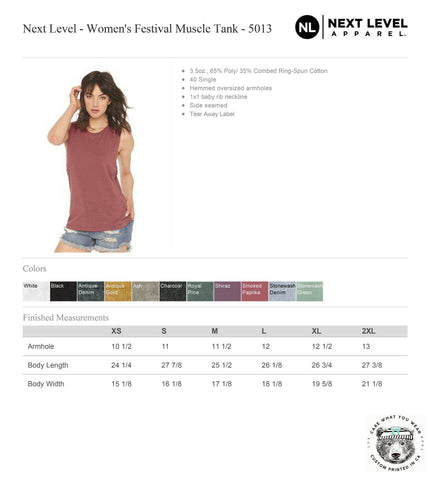 Womens Checker BEAR Flowy Festival Muscle Tank workout fitness tee - Next Level 5013