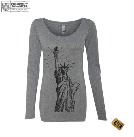 Womens Lady LIBERTY Long Sleeve Scoop Neck Tri Blend t shirt [+Colors] Statue of Liberty Women's March
