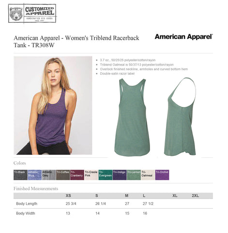 SHARK American Apparel Women's  hand screen printed Tri-Blend Racerback Tank Top workout yoga