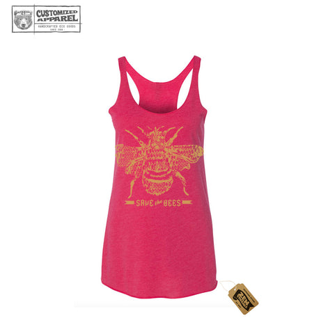 Women's SAVE the BEES hand screen printed Tri-Blend Racerback Tank Top workout shirt