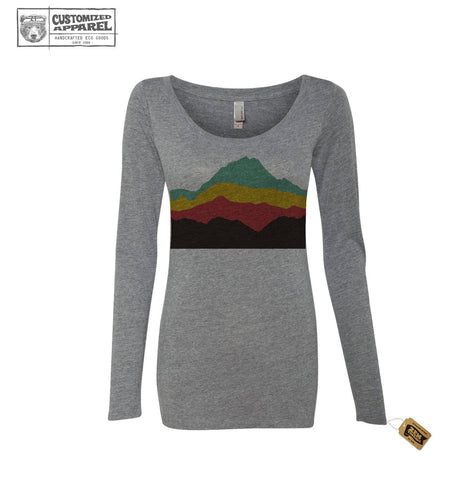 Women's MOUNTAINS Landscape Long Sleeve Scoop Neck Tri-Blend t-shirt Next Level 6031