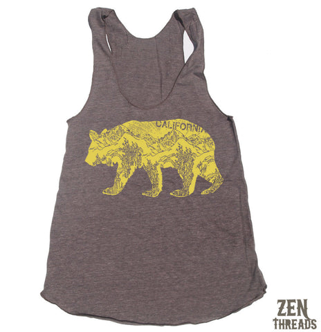 Women's California BEAR -hand screen printed Tri-Blend Racerback Tank Top xs s m l xl xxl  (+Colors)