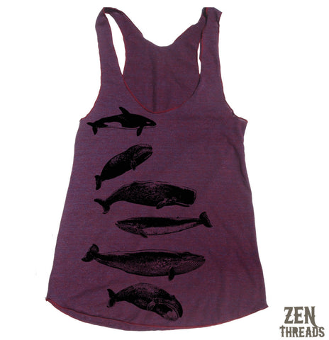 Women's WHALES -hand screen printed Tri-Blend Racerback Tank Top XS S M L XL XXL  (10 Colors)