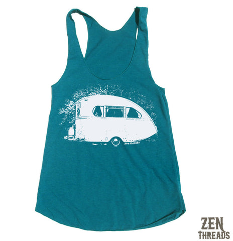 Women's Vintage CAMPER -hand screen printed Tri-Blend Racerback Tank Top xs s m l xl xxl  (+Colors)