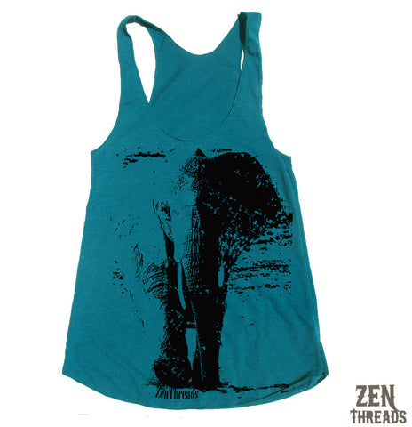 Women's ELEPHANT -hand screen printed Tri-Blend Racerback Tank Top xs s m l xl xxl  (+Colors)