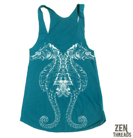 Women's SEAHORSE -hand screen printed Tri-Blend Racerback Tank Top xs s m l xl xxl  (+Colors)