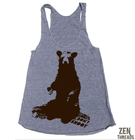 Women's BLACK BEAR -hand screen printed Tri-Blend Racerback Tank Top xs s m l xl xxl  (+Colors)