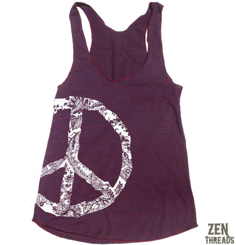 Women's Lace PEACE Sign -hand screen printed Tri-Blend Racerback Tank Top xs s m l xl xxl  (+Colors)