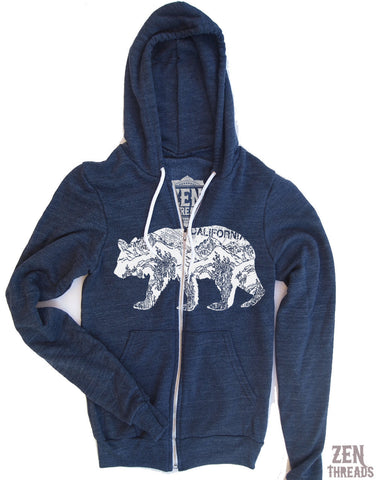 Unisex  California Bear Tri-Blend Hoody - l XS S M L XL Hand Screen Printed - Zen Threads