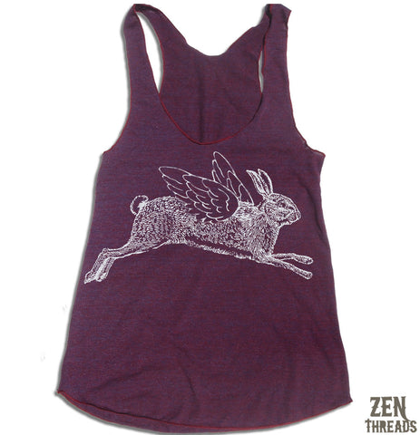 Women's Winged RABBIT -hand screen printed Tri-Blend Racerback Tank Top XS S M L XL XXL  (+Colors)