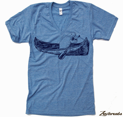 Unisex V-Neck MANATEE (in a Canoe)  T Shirt  xs s m l xl xxl (+ Color Options)