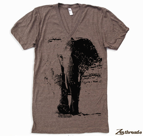 Unisex V-Neck ELEPHANT Tri Blend  T Shirt  XS  S  M  L (2 Color Options)