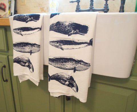 Set of 2 Kitchen Towels - WHALES Flour Sack Bar Towels - Renewable Natural Cotton - Zen Threads