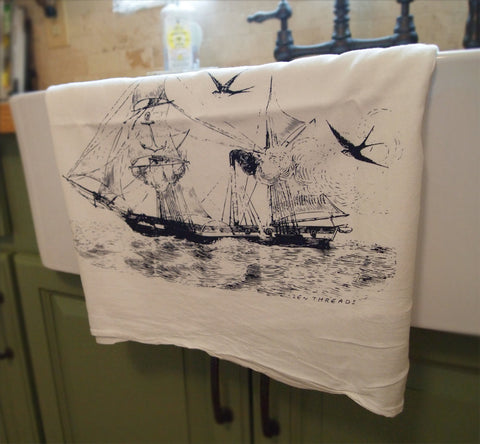 Set of 2 Towels - Vintage STEAMSHIP - Multi-Purpose Flour Sack Kitchen Bar Towels - Renewable Natural Cotton - Zen Threads