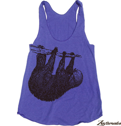Women's TREE SLOTH -hand screen printed Tri-Blend Racerback Tank Top xs s m l xl xxl  (+Colors)