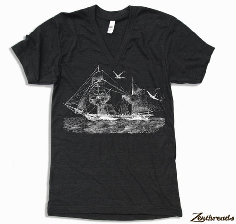 Unisex V-Neck Vintage STEAMSHIP  T Shirt  xs s m l xl xxl  (+ Color Options)
