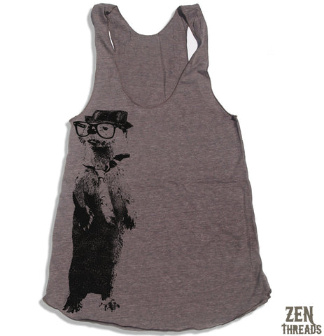 Women's River OTTER (in a Fedora) -hand screen printed Tri-Blend Racerback Tank Top xs s m l xl xxl  (+Colors)