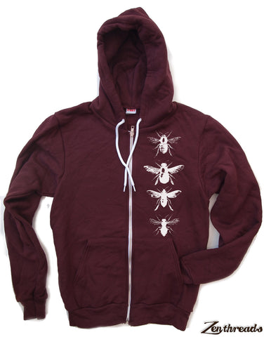 Unisex BEES Flex Fleece ZIP Hoody in Truffle - l (sizes xs s m l xl) Hand Screen Printed - Zen Threads