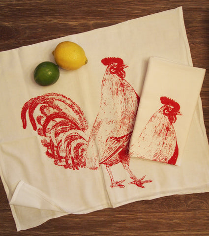 Tea Towel Set of 2 - Red ROOSTER Flour Sack Kitchen Dish Towels - Renewable Natural Cotton - Zen Threads