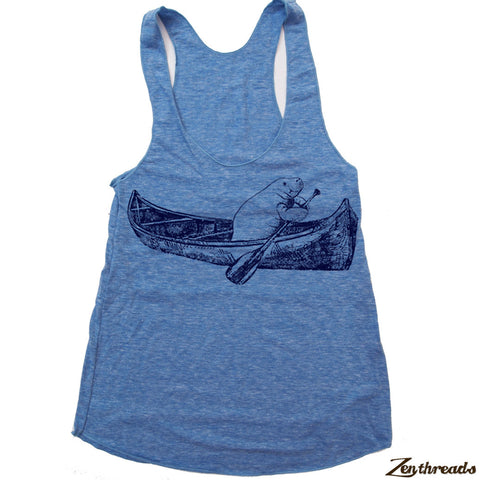 Women's MANATEE (in a Canoe) -hand screen printed Tri-Blend Racerback Tank Top Sizes xs s m l xl xxl  - (+Colors)