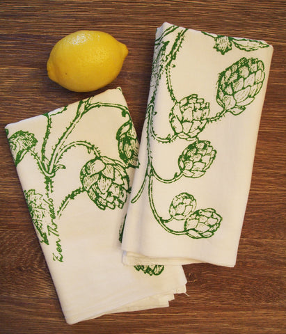 Set of 2 - HOPS - Multi-Purpose Flour Sack Bar Towels - Renewable Natural Cotton