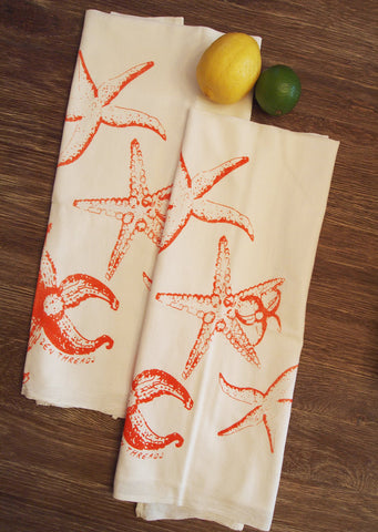 Set of 2 - Orange STARFISH - Multi-Purpose Flour Sack Bar Towels - Renewable Natural Cotton - Zen Threads