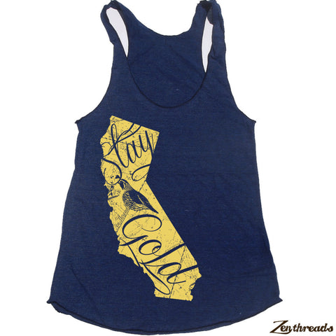 Women's CALIFORNIA State -hand screen printed Tri-Blend Racerback Tank Top xs s m l xl xxl  (+Colors)