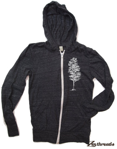 Unisex PINE Tree Eco Zip Lightweight Hoody -  xs s m l xl (+ Colors) - Zen Threads