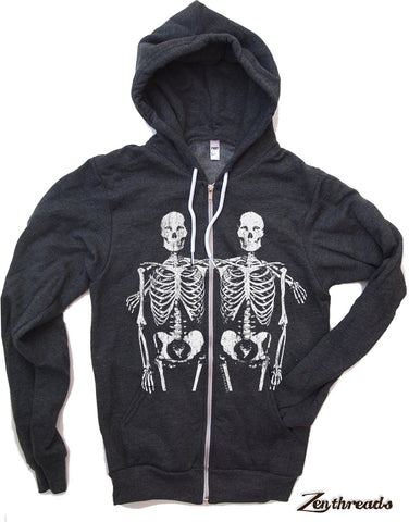 Unisex SKELETONS Full Zip Fleece screen printed graphic hoody- xs s m l xl xxl [+Colors] Hand Screen Printed