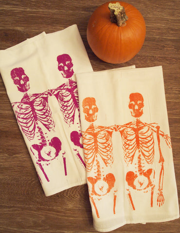Towel Set - SKELETONS - Multi-Purpose Flour Sack Bar Towels - Renewable Natural Cotton - Zen Threads