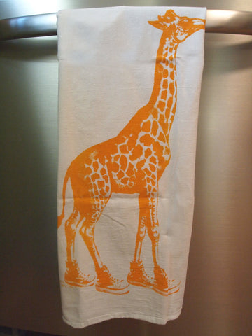 Set of 2 Towels - GIRAFFE (in High Tops) - Multi-Purpose Flour Sack Bar - Renewable Natural Cotton - Zen Threads