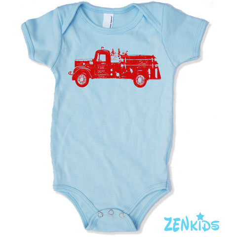 Baby One-Piece Vintage FIRE TRUCK bodysuit Eco screen printed - Zen Threads