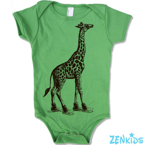 Baby One-Piece GIRAFFE (in High Tops) Eco screen printed - Zen Threads
