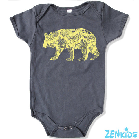 Baby One-Piece California BEAR Eco screen printed - Zen Threads