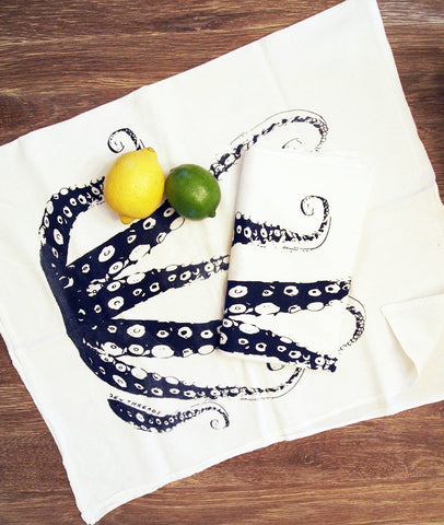 Set of 2 Towels - Navy OCTOPUS Tentacles - Multi-Purpose Flour Sack Kitchen or Bar - Renewable Natural Cotton - Zen Threads