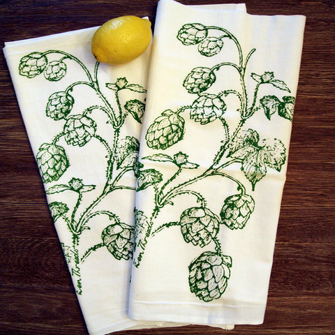 Set of 2 - HOPS - Multi-Purpose Flour Sack Bar Towels - Renewable Natural Cotton - Zen Threads