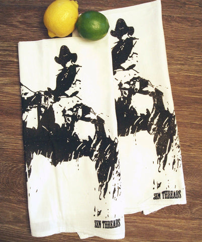 Towel Set of 2 - COWBOY Multi-Purpose Flour Sack Bar Towels - Renewable Natural Cotton - Zen Threads