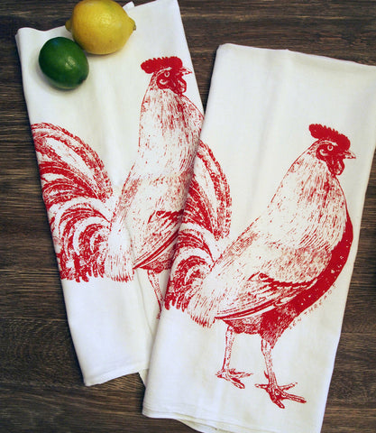 Tea Towel Set of 2 - Red ROOSTER Flour Sack Kitchen Dish Towels - Renewable Natural Cotton