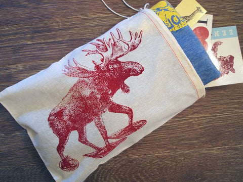 "GIFT BAG / 8x11"" MOOSE (in Snow Shoes) - Zen Threads"