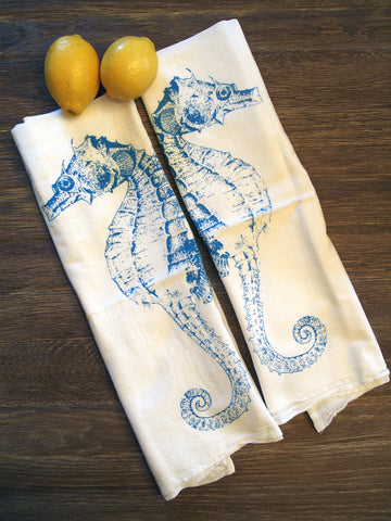 Set of 2 Towels - Turquoise SEAHORSE - Multi-Purpose Flour Sack Kitchen or Bar - Renewable Natural Cotton - Zen Threads