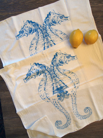 Set of 2 Towels - Turquoise SEAHORSE - Multi-Purpose Flour Sack Kitchen or Bar - Renewable Natural Cotton