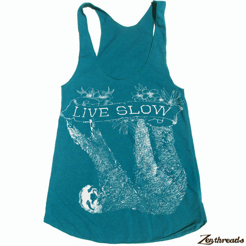 Women's SLOTH 2 (Live Slow) -hand screen printed Tri-Blend Racerback Tank Top xs s m l xl xxl  (8 Colors)